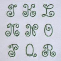 ワンコイン・デザインPack91(手刺繍風3DアルファベットA-2 [J〜R]9文字) 刺繍データ