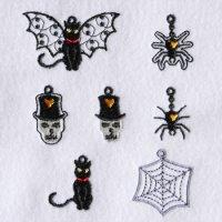 ワンコイン・デザインPack113(ハロウィンのチャーム飾り  7種類)刺繍データ