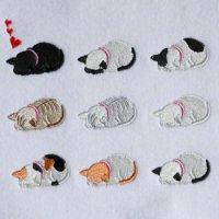 ワンコイン・デザインPack115(ごめん寝  猫ちゃん  9種類)刺繍データ