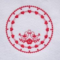 ワンコイン・デザインPack134(レッドワークのコースター 4種類)刺繍データ