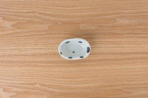 古染付 | 楕円豆鉢 水玉