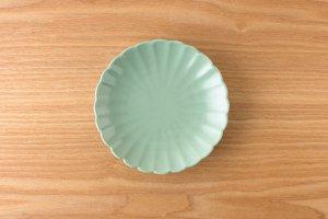 菊型取皿 |  緑釉