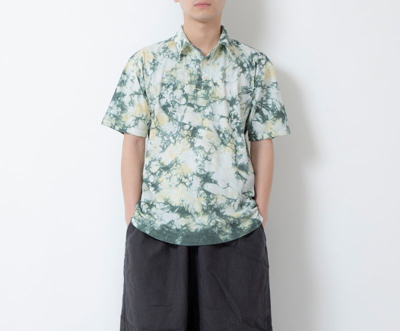 EIJI×桐染 籠染 アロハTシャツ フォレストグリーン