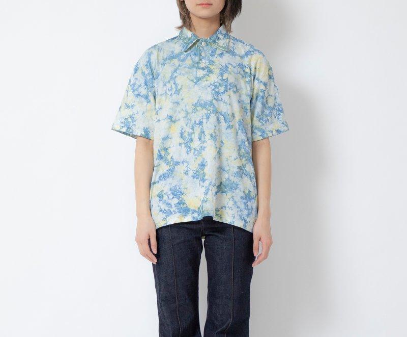 EIJI×桐染 籠染 アロハTシャツ イエローブルー