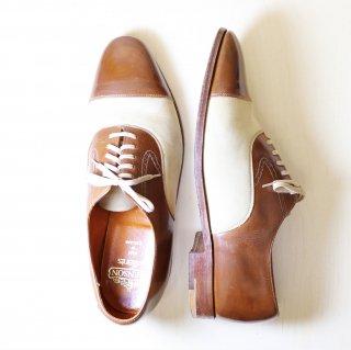 """""""美品"""" GRENSON (グレンソン)Straight Tip Shoes(ストレートチップ シューズ)UK9.5 EF ヌバック切替レザー Gallants クリーム×ブラウン コンビ 80s"""