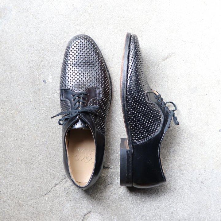 """""""美品/希少品"""" BOND CLOTHES(ボンド クローズ)Plane Toe Shoes(プレーントゥ シューズ)Park Lane Dominic Rossi 黒 60s~70s メッシュレザー"""