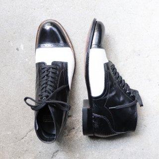 """""""美品"""" STACY ADAMS(ステイシーアダムス)Spectator Lace up Boots(スペクテイター レースアップブーツ)US7.5 D リザード型押し MADISON 白×黒 90s"""