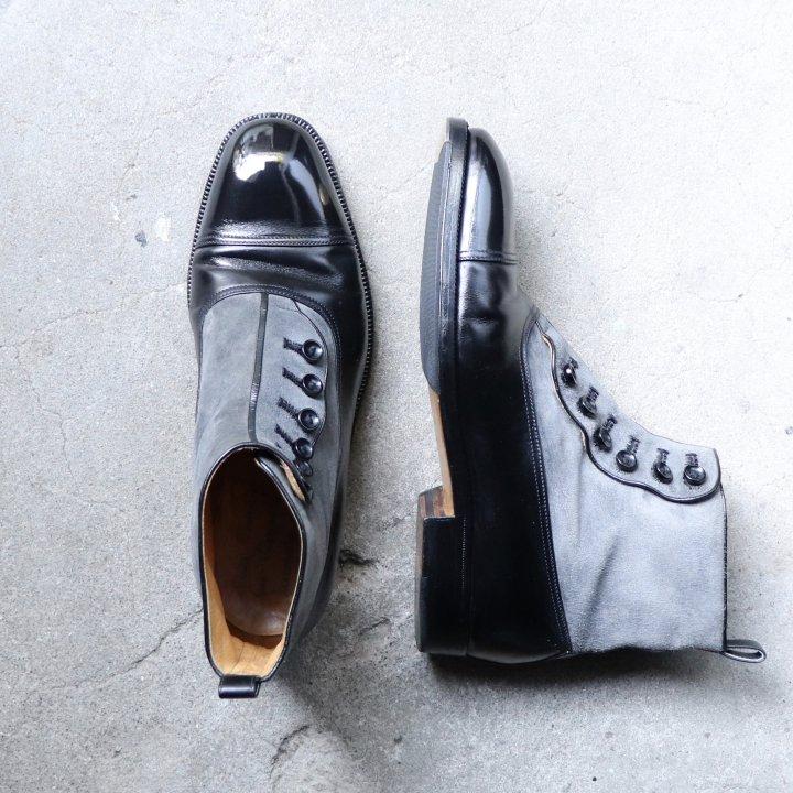 """""""中古品/希少品"""" Enzo Bonafe(エンツォボナフェ)× MAGNUM別注 Button Boots(ボタンブーツ)7.5 ブラックカーフ グレースエード"""