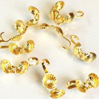貝(シェル)のデザインボールチップ(10個)ゴールド基礎金具 エンドパーツ
