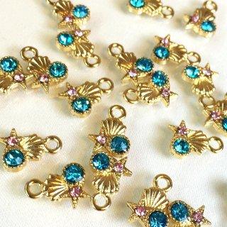 マリンビジュー 8個 海の宝石 アクアマリンローズガラス付ゴールドチャーム