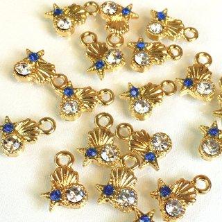 ▲マリンビジュー 8個 海の宝石 デニムブルークリスタルガラス付ゴールドチャーム