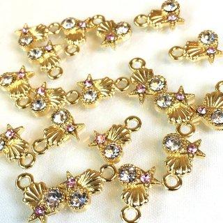 マリンビジュー 8個 海の宝石 ローズクリスタルガラス付ゴールドチャーム