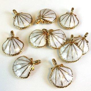 カラーシェル小 4個 貝殻チャーム セイロンホワイトゴールド