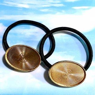 セッティング土台付ヘアゴム(オーバル)レジン ミール皿 ゴールド 2個