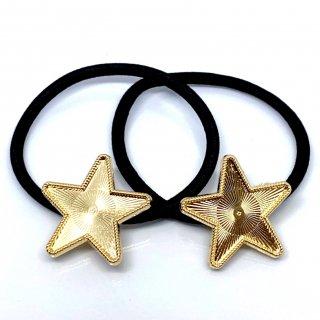 セッティング土台付ヘアゴム(星)レジン ミール皿 ゴールド 2個