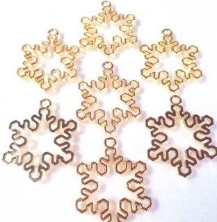 雪の結晶レジンフレーム 空枠ゴールド4個 カン付きセッティング