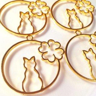 【B級品】猫とクローバーのレジンフレーム 空枠ゴールド 4個 *メッキに汚れあり
