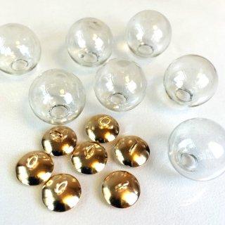 ガラスドームチャーム ゴールド  2個 ガラスボール レジンセッティング