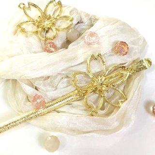 桜のかんざし ゴールドヘアアクセサリー レジンセッティング
