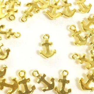 小さな錨 10個 レジン封入 マリン イカリ ゴールドチャーム