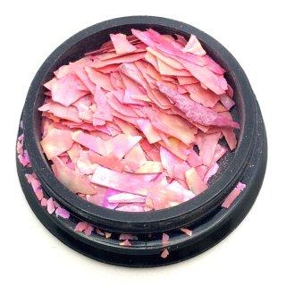 超うす ピンクトルマリン 美しく反射埋込レジン封入シェル素材