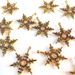 六花(雪の結晶) ゴールド(8個) カン付きチャーム