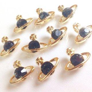 A級ガラスストーン土星のチャーム ブラックダイヤモンド(5個)ゴールド