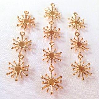 雪の結晶(10個)ゴールド  スノーチャーム