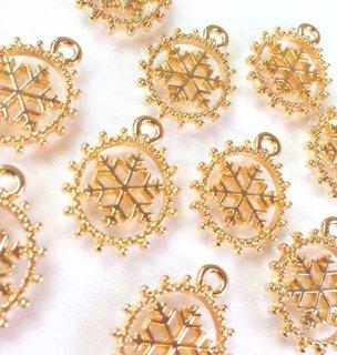 ふわきら雪の結晶 ゴールド(4個) カン付きチャーム