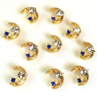 宇宙ビジュー(8個)三日月 銀河の宝石 クリアサファイア ガラス付ゴールド貼付パーツ