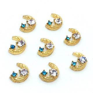 宇宙ビジュー(8個)三日月 銀河の宝石 クリアアクアマリン ガラス付ゴールド貼付パーツ