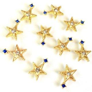 宇宙ビジュー(8個)お星さま 銀河の宝石 クリアサファイア ガラス付ゴールド貼付パーツ