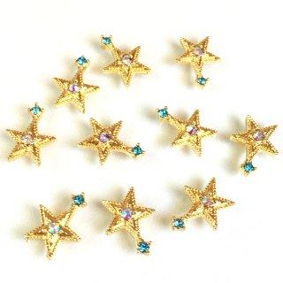 宇宙ビジュー(8個)お星さま 銀河の宝石 オーロラアクアマリン ガラス付ゴールド貼付パーツ