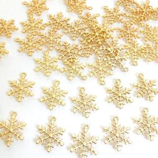スノーフレーク 雪の結晶20個セット(大10個小10個)ゴールド チャーム