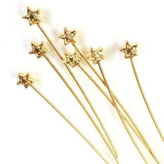 星のデザインピン(4個)ゴールド
