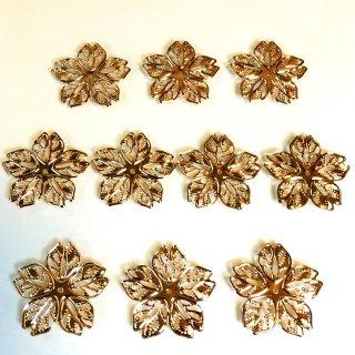 透かしパーツ さくら(4個)和風桜チャームゴールド