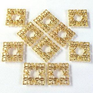 透かしパーツ四角15mm Aタイプブーケ(8個)ゴールド