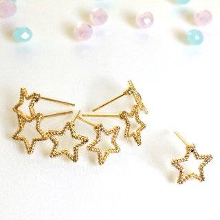 星のフレームピアス(6個)ゴールド レジン枠金具