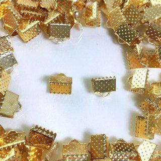 ヒモ留め(100個)ゴールド基礎金具 8mm エンドパーツ リボン留め