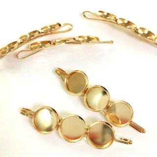 レジン用ヘアクリップ ミール皿台付きゴールド金具(2個)髪留め基礎金具