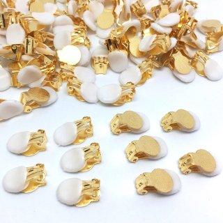 丸皿イヤリング シリコンパッド付 10個 ゴールド蝶バネ
