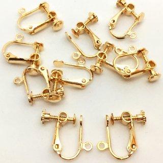 貼付台付バネ式イヤリング はりつけカン付 4個 ゴールド 高品質タイプ