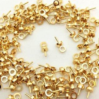 キャップ付きヒートン(100個)基礎金具ゴールド 大容量