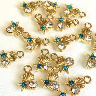 *マリンビジュー 8個 海の宝石 アクアマリンクリスタル ガラス付ゴールドチャーム