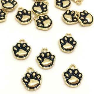にゃんこのぷにぷに肉球チャーム 5個 黒猫ゴールドベース ネコ