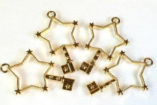 *銀河の鍵セッティング 星形空枠 カン付きレジンフレーム ゴールド(4個)