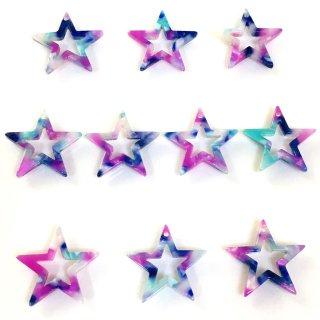 銀河色べっこうパーツ(10個)星 樹脂製チャーム