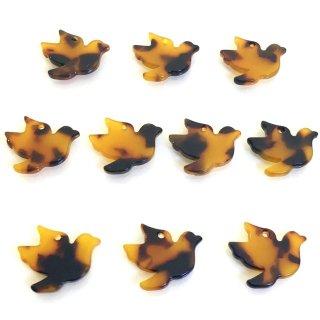 べっこうパーツ(10個)小鳥 樹脂製チャーム
