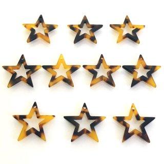 べっこうパーツ(10個)星型 樹脂製チャーム