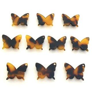 べっこうパーツ(10個)蝶々 樹脂製チャーム